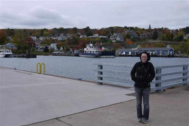 Lisa in front of Bayfield, Wisconsin.