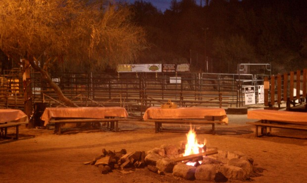 Yep, bull riding. No bull. Wait ... there is a bull.