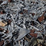 Pile of galvanized steel scraps.