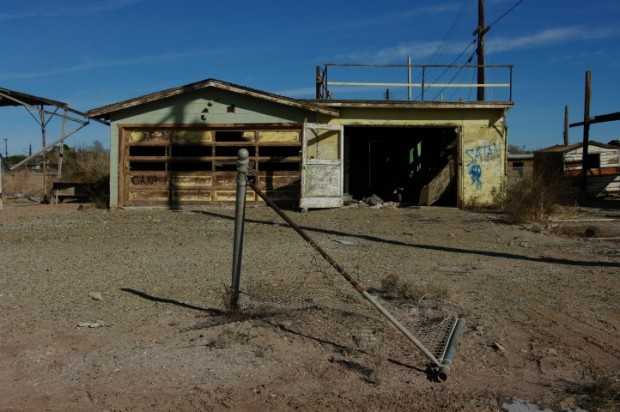 A deserted building in Bombay Beach.