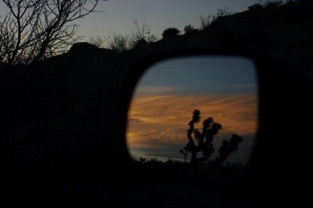 Sunset in the rearview mirror.