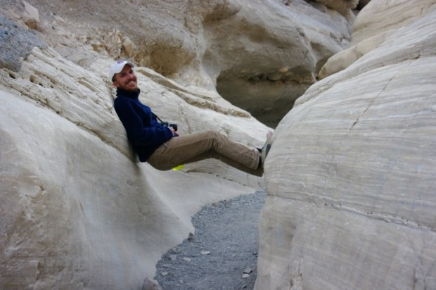Paul relaxing in Mosaic Canyon.