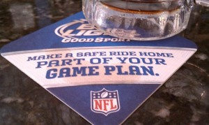 NFL-themed coasters are only there to fool you.