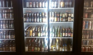 About half of the selection of beer bottles.