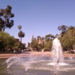 Balboa Park's fountain and promenade.