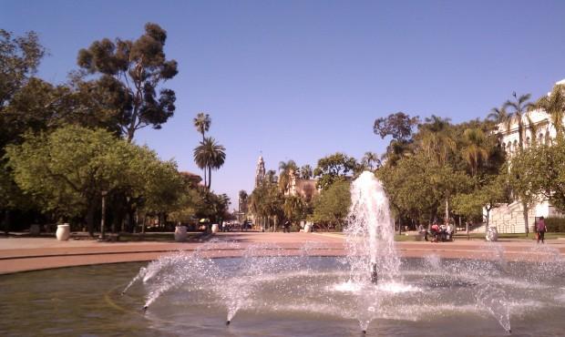 Balboa Park's fountain and promenade.