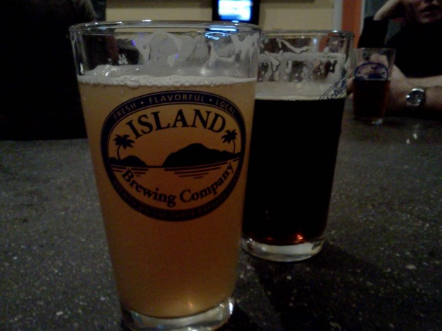 Beers at Island Brewing Company.