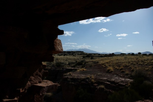 The tallest mountain in Arizona, from a ruin in Wupatki National Monument.