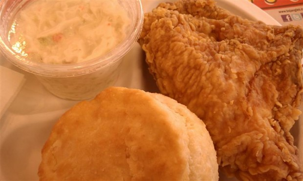 Bojangles' fried chicken, biscuit, cole slaw.