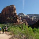 The hike begins: Angels Landing towers to the left.