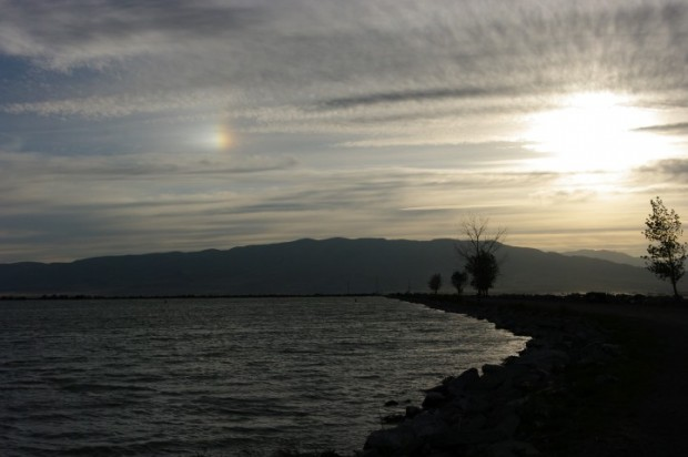 Sundog over Utah Lake [Photo from Lisa]
