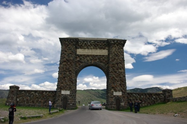 The Roosevelt arch in Gardiner, MT -- the original entrance to Yellowstone.