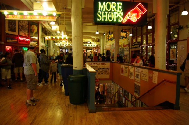 The lower levels of the market have lots of funky stores and fewer crowding people.