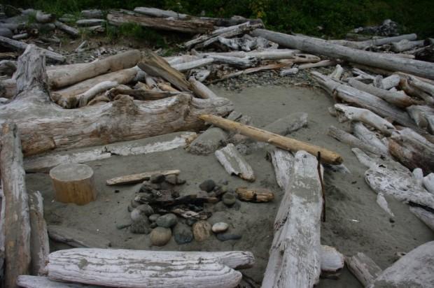 A beach campsite.