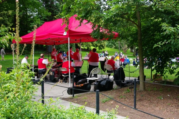 A jazz band playing in the park.