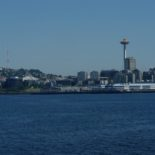 The Space Needle from the ferry. No plastic bags in that water.