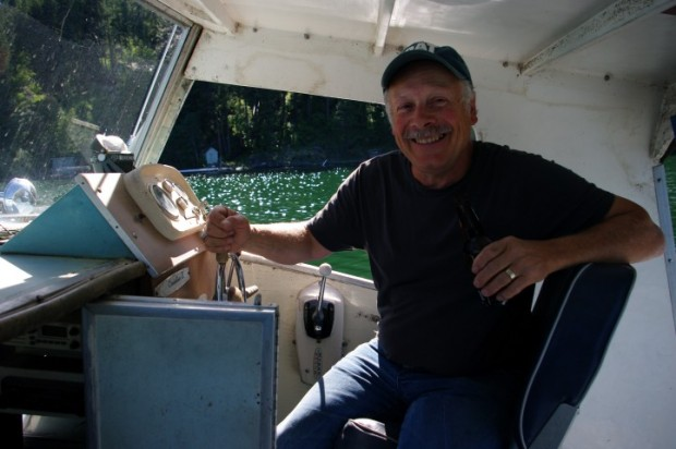 Jeff at the helm of the Mosquito Coast.