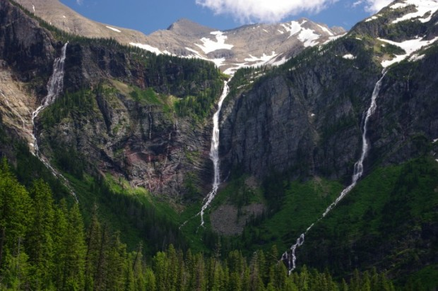 Closeup of the waterfalls behind Avalanche Lake.