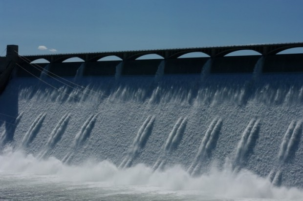 Close-up of the Grand Coulee Dam spillway.