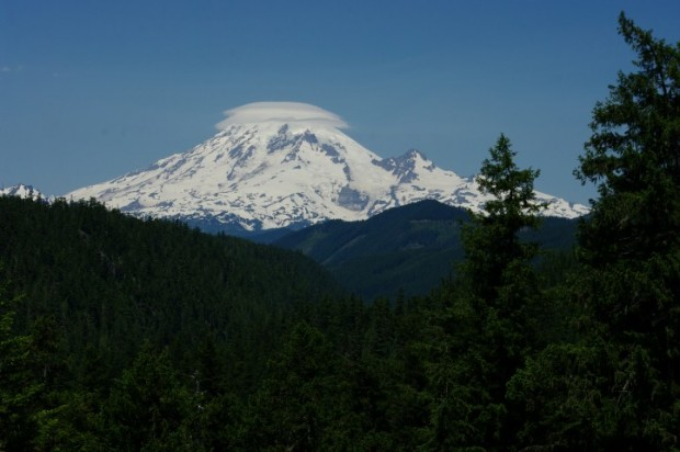 The first day, Mt. Rainier was wearing a double yarmulke.