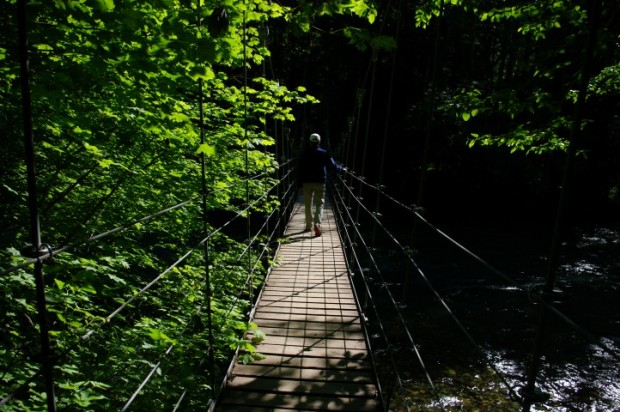 A suspension bridge at lower elevation.