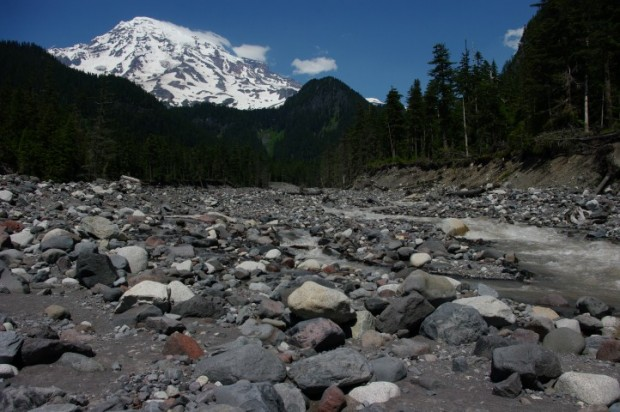 Mt. Rainier from a river bed.
