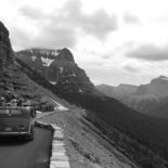 Heads pop out of a jammer at Glacier NP.