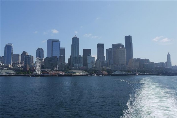 Leaving Seattle via the Seattle-Bainbridge Island Ferry.