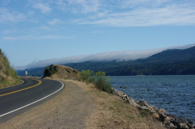 Fog rolling up over the hills along Tomales Bay.
