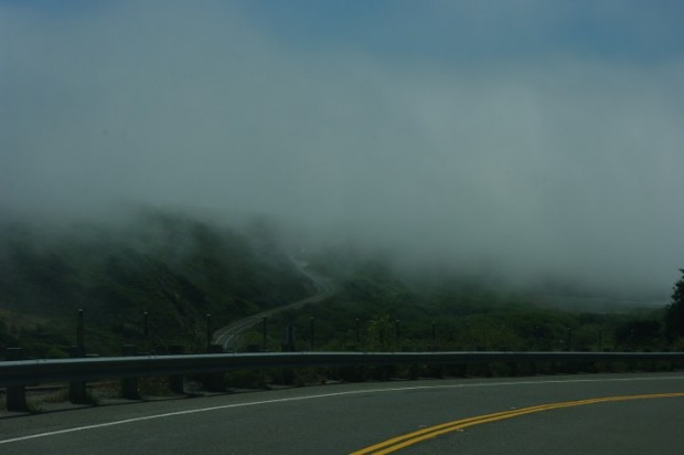 Fog along the northern California coast.