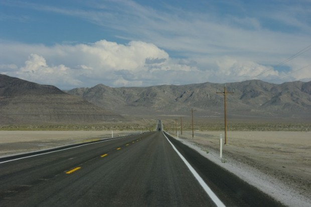 The road east of Fallon, NV.