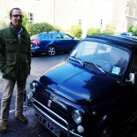 Paul and a tiny old Fiat 500.