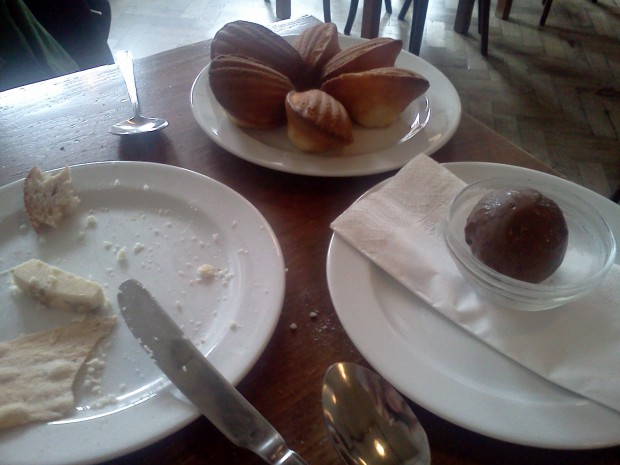 Dessert! Madeleines and Chocolate Ice Cream.