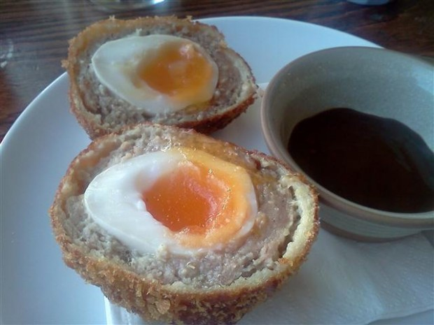 Posh Scotch Egg from Gordon Ramsay's The Narrow. Served with HP Sauce. Runny yolks are for varsity chefs.