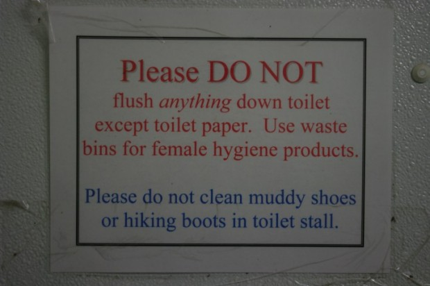 Don't put your boots in the toilet to clean them! Silly!