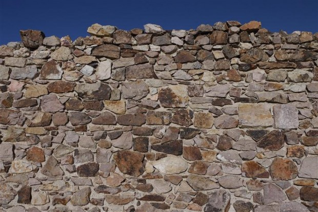 Crumbling wall in Rhyolite.