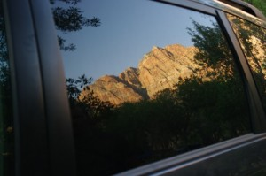 Zion cliffs reflection from the South Campground