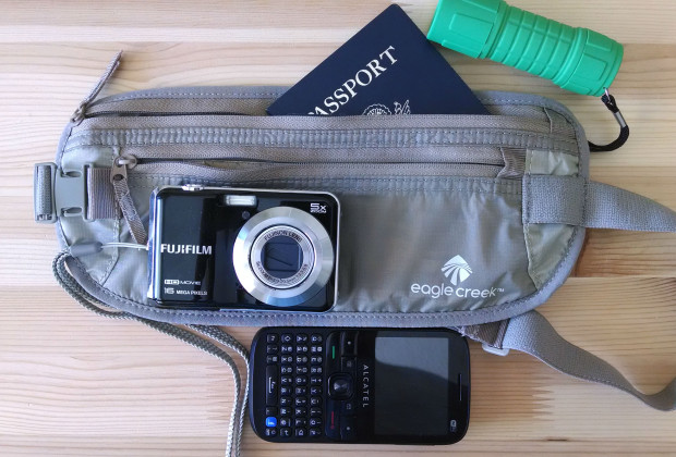 Cheap camera, dumb phone, money belt, passport, flashlight. Ready for anything.