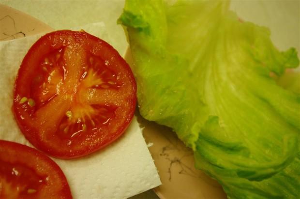 Crisp iceberg lettuce, ripe tomatoes